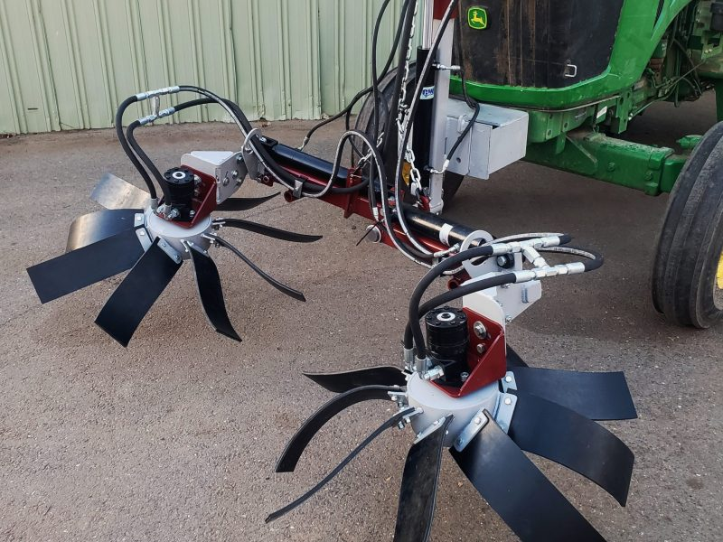 Low pivot frame with rubber flap berm sweepers